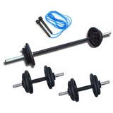 Kit 40kg Anilhas+2 Barras 40cm Com Rosca+1 Barra 120cm+corda