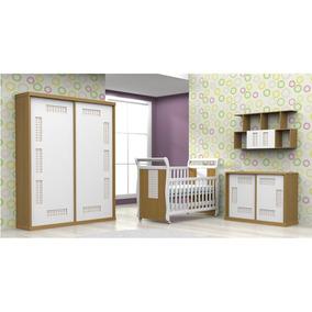 Quarto Infantil Atual Móveis Quadriculado - Mel/branco