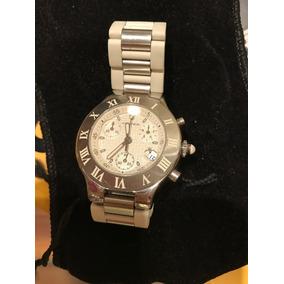 6eb3eb03dd7 Relógio Cartier Aço  branco Cronógrafos Lindo