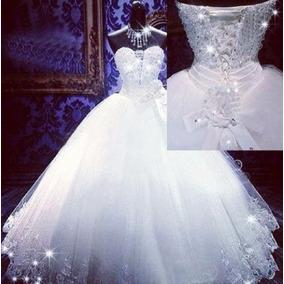 Vestido Noiva Princesa Longo Bordado Renda Casamento Luxo
