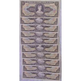 10 Cédulas De 50 Cruzeiros Sem Circulação Sequencial
