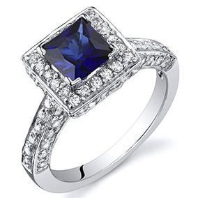 Creado Zafiro Princesa Halo Ring Sterling Silver Rhodium Nic