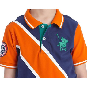 Playera York Team Polo Club Estamp Azul Linea Naranja Niño