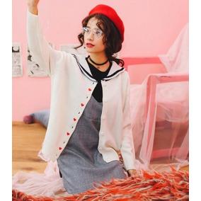 Suéter Moda Japonesa Estilo Marinero Con Corazones Bordados