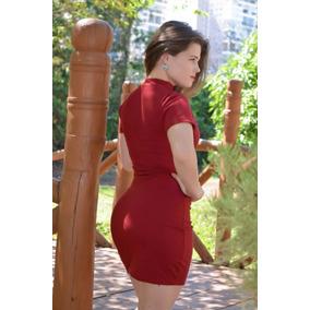 Vestido Moda Primavera Canelado Meia Coxa Justo Promoção