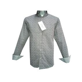 Camisa Casual Con Cuadritos Gris Y Negro Manga Larga