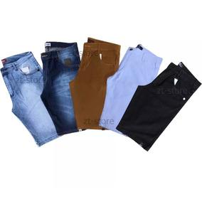 Kit Com 5 Bermuda Masculina Sarja Jeans Coloridas Brim Slim