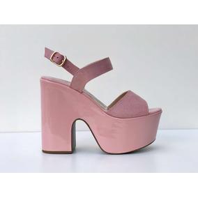 Sandália Plataforma Rosê/ Nude