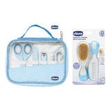 Set Cuidado Higiene Chicco Peine Cepillo Alicate Varon