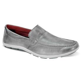 dbe105b0f3 Sapatilha Masculina Couro Legitimo - Sapatos para Masculino Prateado ...