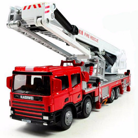 Miniatura Caminhão Corpo De Bombeiros Plataforma Metal 1/50