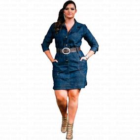 028f24ce0 Vestido Jeans Manga Longa Plus Size G1 G2 G3 Moda Blogueira