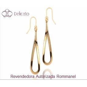 Brinco Rommanel Folheado A Ouro Gota Torcida 4,3cm 523372
