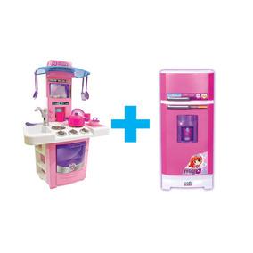 Cozinha Infantil Fogão + Geladeira Mágica 8052 + Microondas