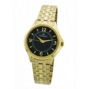 85e310d8632 Relogio Feminino Dourado Com Fundo Preto Champion - Relógios De ...