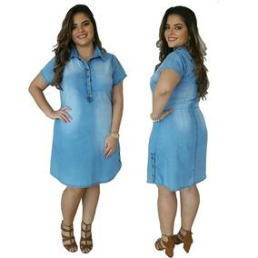 Vestido Plus Size Jeans Moda Evangélica Frete Grátis Ref0019