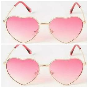 Óculos Lente Clara Degradê Pink Formato De Coração Menina b9a2640875