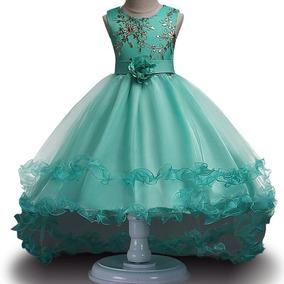 Vestido de formatura infantil verde esmeralda
