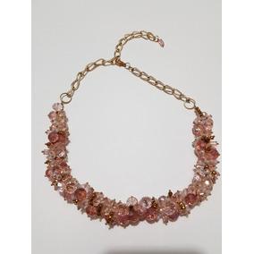 Collar Gargantilla De Cristal Rosa Y Dorado