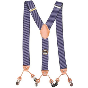 Stripes Pattern Wide 6 Clips Suspenders Para Hombres Y Muje
