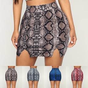 34d17e5de2 Falda Lápiz Mujeres Pu Impresión Novio Cuero Piel De Serpi
