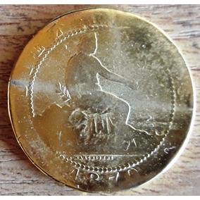 España Moneda Año 1870 Bañada En Oro - 10 Centimos