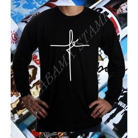 Camiseta Manga Longa Fé Religiosa Frases Gospel Católica 25a8cd59c37