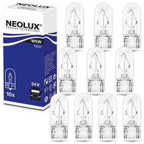 Kit 10 Lâmpadas Halógenas Neolux Standard W5w 3200k 5w 24v