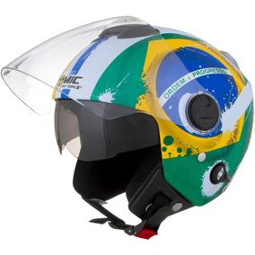 Capacete New Atomic Brasil Pro Tork Viseira Solar Bandeira ... 9485cef77d5