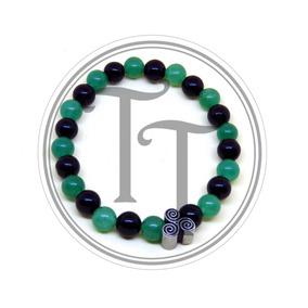 Pulsera Jade Y Agata Natural Charm Trisquel Titanio 18k