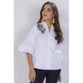 35b5ff95c50 Blusas Camisas Dama Blanca Bordadas Casuales Moda N81148 por Bobois  Collection