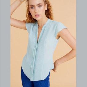 Blusa Casual Holly Land, Cuello V, Pliegues, Sb 184723