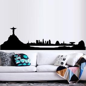 ef48a8ec080 Adesivo De Parede Cidade Rio De Janeiro Cristo Redentor Sala. R  120