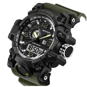 d0fd3483277 Relógio Masculino Sanda Militar Grande Tipo G-shock Brinde