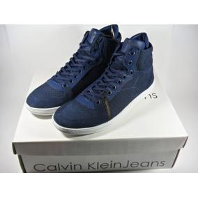 Tênis Couro Calvin Klein High End Cano Médio Couro Legítimo