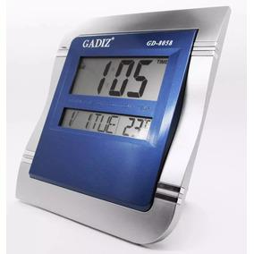 Reloj Digital Pared Escritorio 25x22 Gadiz Termometro Azúl