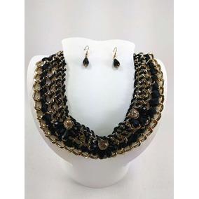 Collar Y Aretes Con Liston Negro En Cadena De 4 Lineas