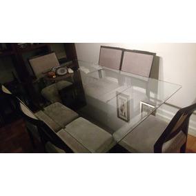Mesa Tampo De Vidro 160 X 100 Com 6 Cadeiras Impermeáveis