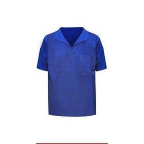 Camisa Profissional Azul Royal Em Brim Gola Italiana M curta 7585acc72d5ae