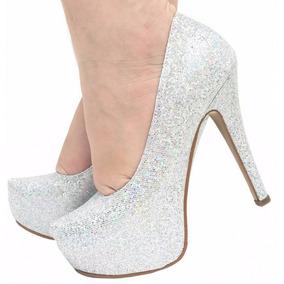 4c26dbea0 Sapato Scarpin Prata Salto Alto - Sapatos no Mercado Livre Brasil