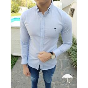 Camisa Slim Fit Azul Cielo Mini Rayas Azules Moon & Rain