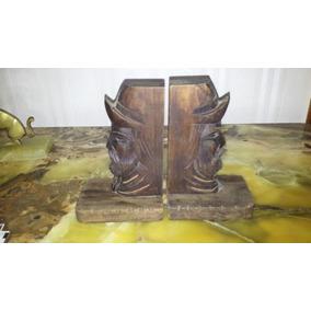 Sujeta Libros De Madera Tallada Cabeza De Gaucho/ Estatuilla
