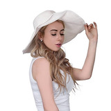 Sombrero De Paja Para La Playa Protector Solar Para Mujer 0862c8e74e30