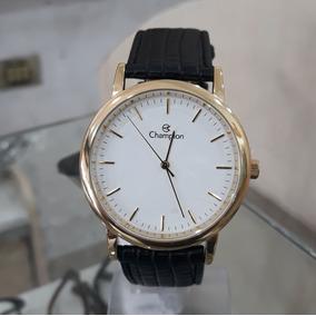 Relógio Masculino Social Em Couro Cn20042b Dourado