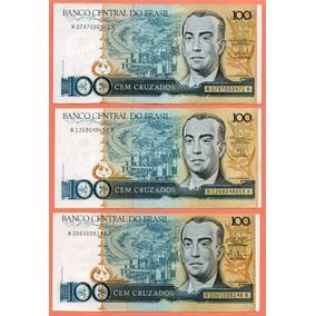 2-p Dinheiro Antigo Cédulas 100 Cz$ Chancelas C-185 186 187