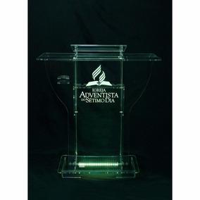 Estante Mesa Púlpito Acrílico Transparente Modelo C/ Led
