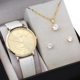 Relógio Nowa Dourado Couro Feminino Nw1411k Com Kit Brinde