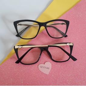 Armação De Óculos Grau Retangular Nerd Básica Feminina Blogu a9a0db5bae