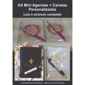 30 Mini Agendas 2019 + 30 Canetas Personalizadas - Lembrança