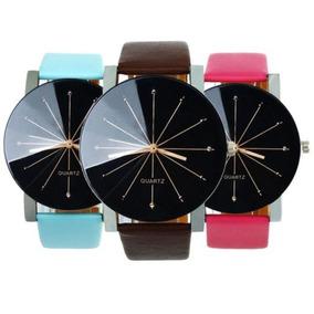 Super Promoção Relógio Quartz Unissex Pulseira De Couro